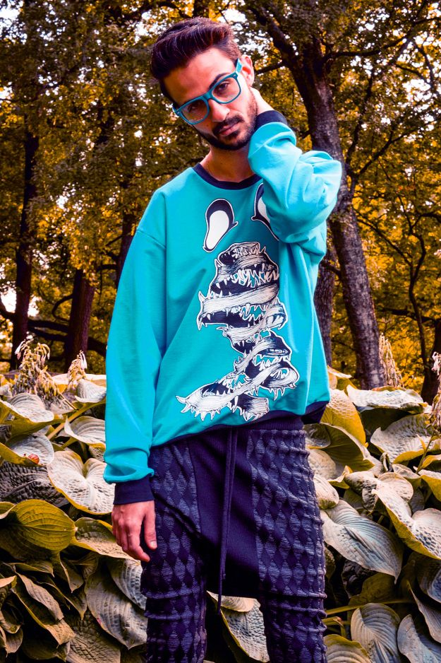 Daniel Palillo SS/13 Escher Print Sweater and Dusty Aw/12 Ukki Wool Knit Pants