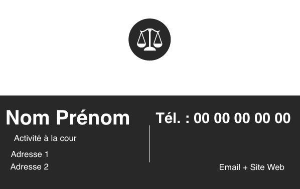 Avocat & Justice, Carte de visite professionnelle, Modèle noir créez gratuitement à partir de modèle en ligne votre Carte de visite pour montrer votre déontologie, Modèle Carte de Visite gratuit et simple à personnaliser