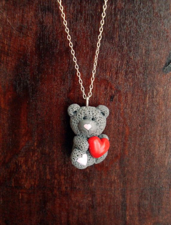 Check out this item in my Etsy shop https://www.etsy.com/listing/222775607/teddy-bear-pendant-holding-a-red-heart