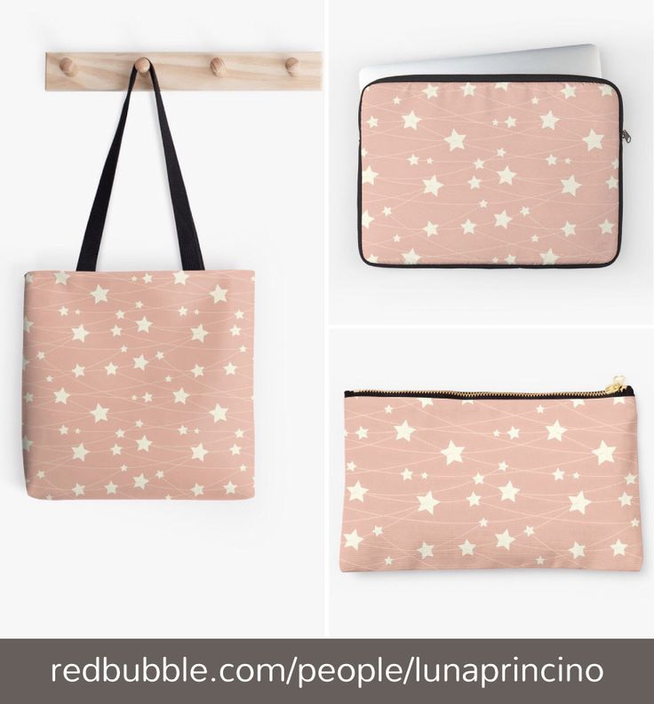 Ashy pink starry collection. Designed by Luna Princino. #accessories #lunaprincino #bags #tote #bag #pouche #laptop #sleeve #graphic #design #pretty #dreamy #hanging #stars #ashy #pink #fantasy #pattern #starry #pale #pastel #girly #magic #beautiful #redbubble #gift #idea #ideas #print #prints #macbook #fashion #cosmetics