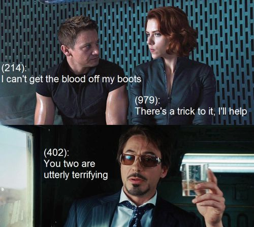 Hawkeye; Black Widow; Tony Stark; Iron Man;  Clint Barton; Natasha Romanoff