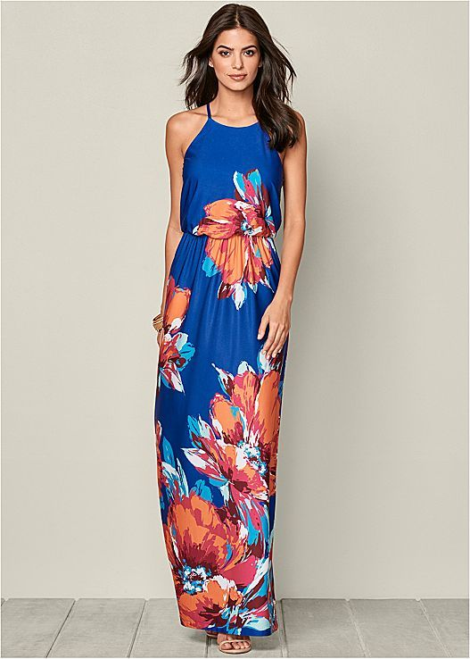 FLORAL PRINT MAXI DRESS, HIGH HEEL STRAPPY SANDAL