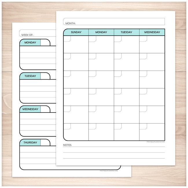 Teal Monthly Weekly Calendar Planner Pages - Printable