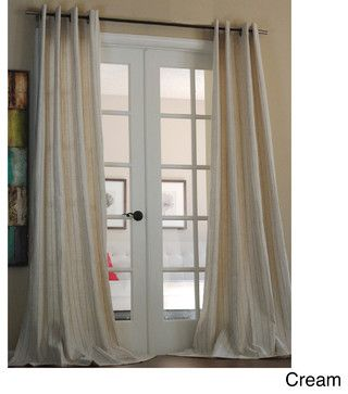 Cream linen pinstripe curtains