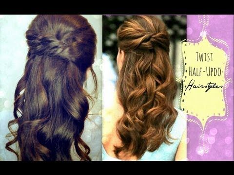 ★EASY TWIST-CROSSED HAIRSTYLES |  HALF-UP PONYTAIL UPDO WITH CURLS FOR MEDIUM LONG HAIR TUTORIAL