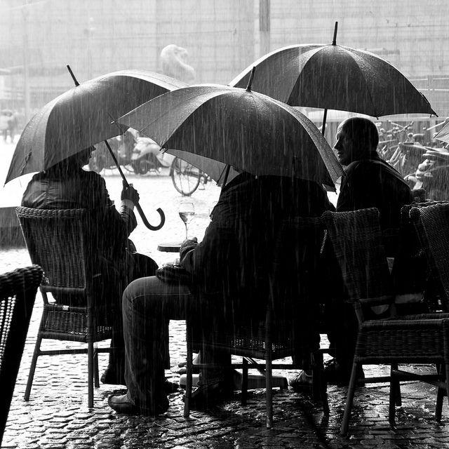 glass of wine in rain