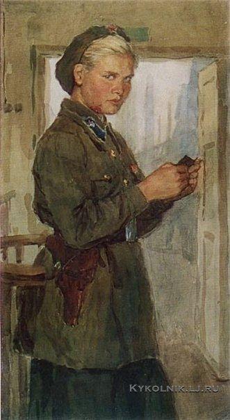 Семенов Борис Александрович (1917-1991) «Вахтер Нина» из серии «Уралмаш и Уралмашевцы» 1972