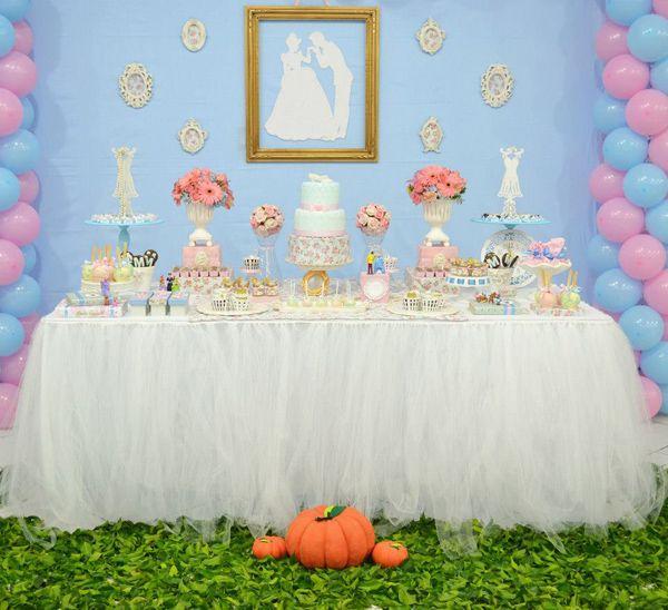 Cinderella Themed Birthday Party Pink Blue Boy Girl Kids Disney Prince Charming