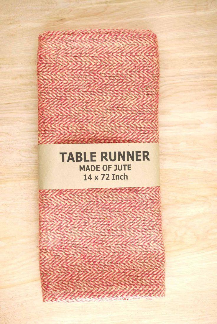 Jute Table Runner Herringbone Red 14x72in