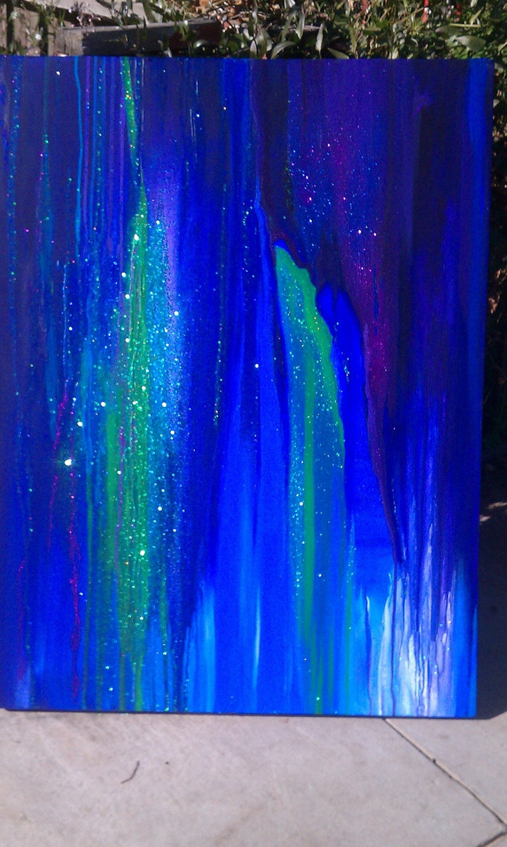 Colorful Drip Painting Abstract Acrylic Original Art Large - Purple, Blue, and Green Drip with Glitter. $300.00, via Etsy.