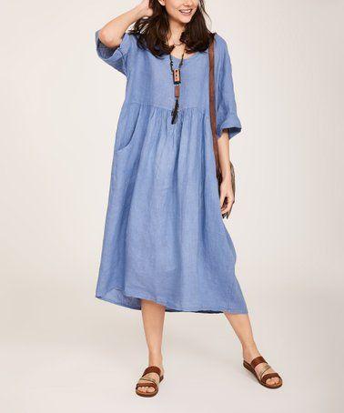 49c2c0608cf Another great find on #zulily! Denim Blue Linen Shift Dress - Women & Plus