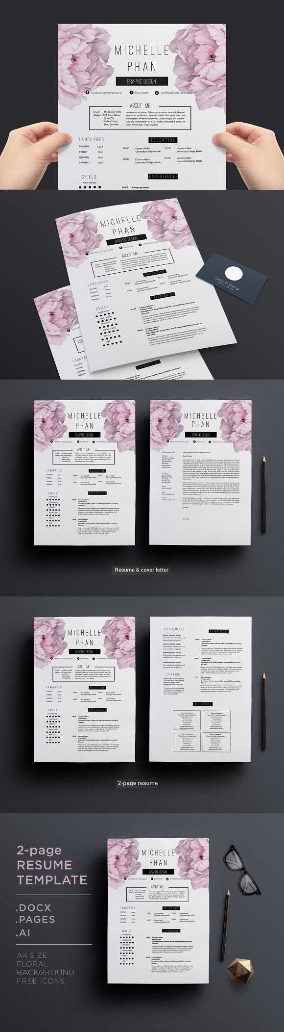 cover letter flight attendant%0A   page resume template cover letter  template  cvdesign