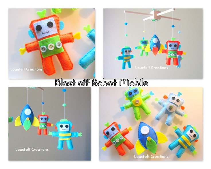 Baby Crib Mobile - Baby Mobile - Robot Mobile - Rocket Mobile. This is an item to buy, but I think I could make one like it.