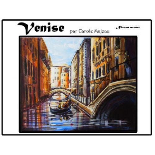 Création de Carole Majeau - Patron de projet à faire à l'acrylique, Venise, rivière de Venise, gondole, canaux, canal, peinture, souvenir de voyage