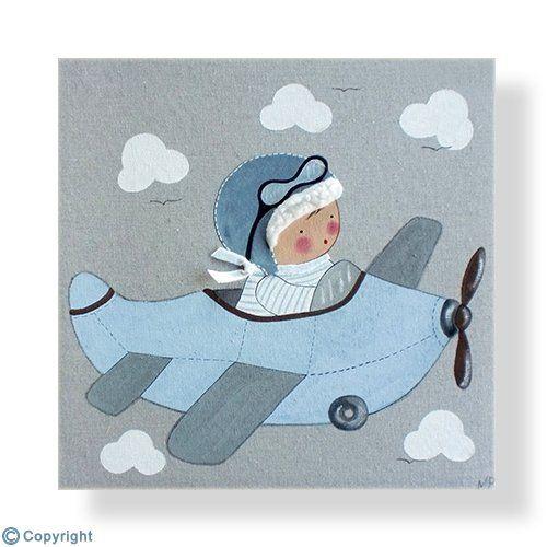 Cuadro infantil personalizado: Niño aviador (ref. 12000-01)