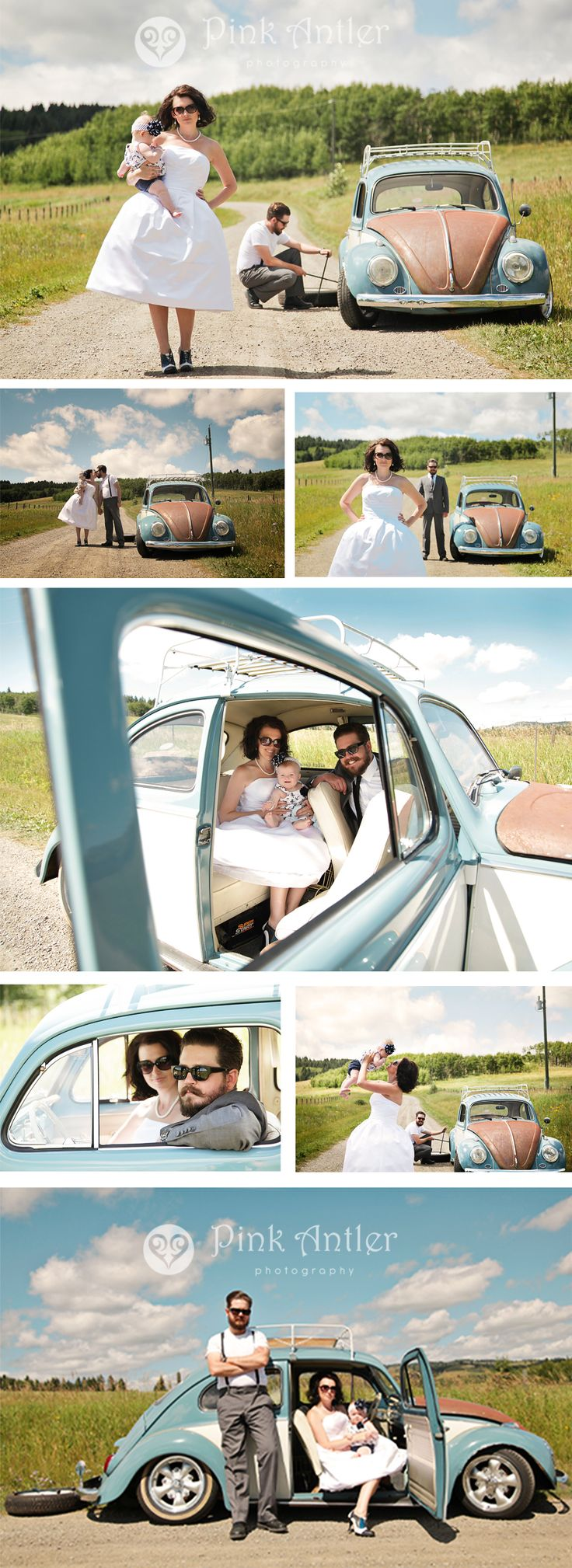 These are off the hook! Car broken down, rockabilly style wedding photo's with baby. By Pink Antler Photography.
