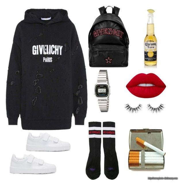 """Untitled #157"" by ezerys on Polyvore featuring Givenchy, Vetements, Jil Sander, Casio, Lime Crime and Velour Lashes"