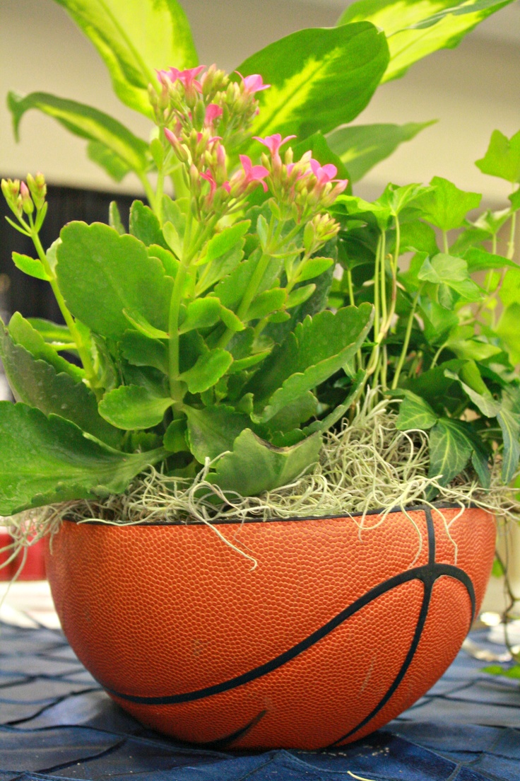 Athletic Banquet Centerpiece Ideas : Basketball centerpieces on the tables for