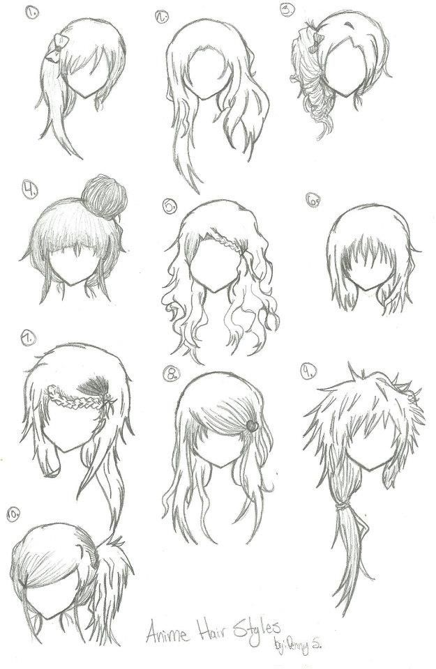 Hairstyles For Long Hair Drawing : Hairstyles --- Anime, Manga, Drawing, Art, Bun, Curly, Long, Short ...