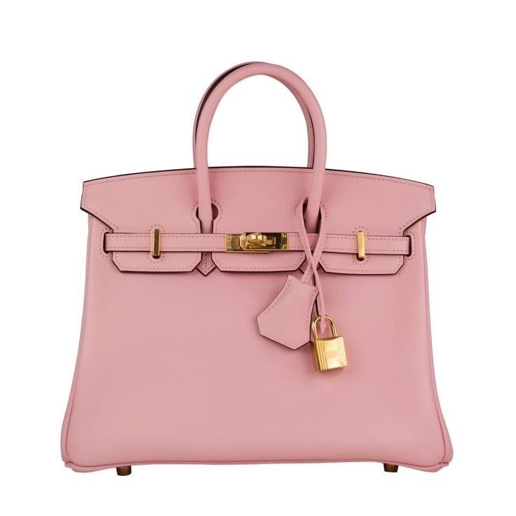 Hermes Handbag Birkin 25 Swift Pink Sakura Gold Hardware 2016. | From a collection of rare vintage top handle bags at https://www.1stdibs.com/fashion/handbags-purses-bags/top-handle-bags/