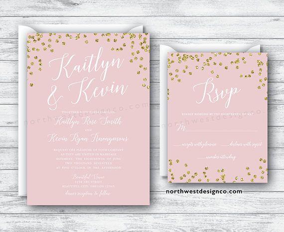 Blush Pink Gold Wedding Invitation and Reply Card Set Boho