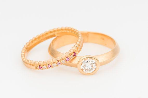 Wedding Ring Set,Unique Wedding Ring Set,Diamond Wedding Ring,Gold Stacking Rings,Edwardian Ring,Art Deco Ring,solitair engagement ring