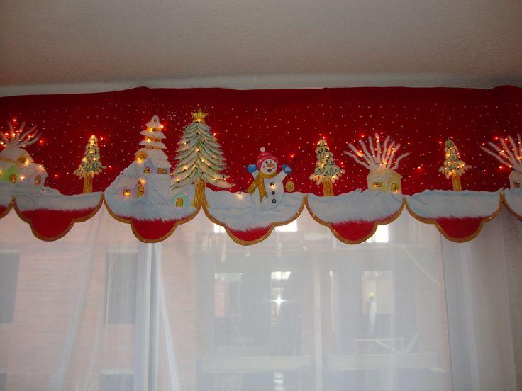 cenefa navideña pintada a mano sobre gamuza