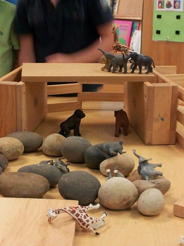 Adding rocks & animals to the blocks.