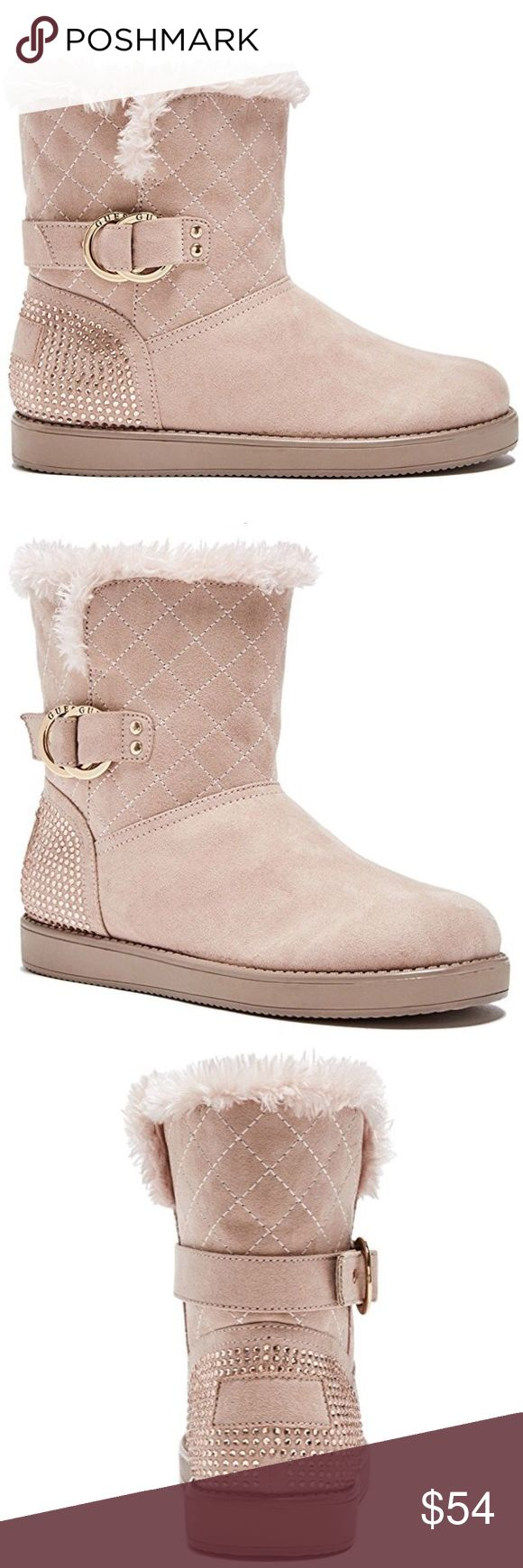 Guess rhinestone embellished light pink fur boots Soft faux shearling fur lined boots. Sparkling rhinestones decorate the heel. New in box More pics coming Guess Shoes Ankle Boots & Booties