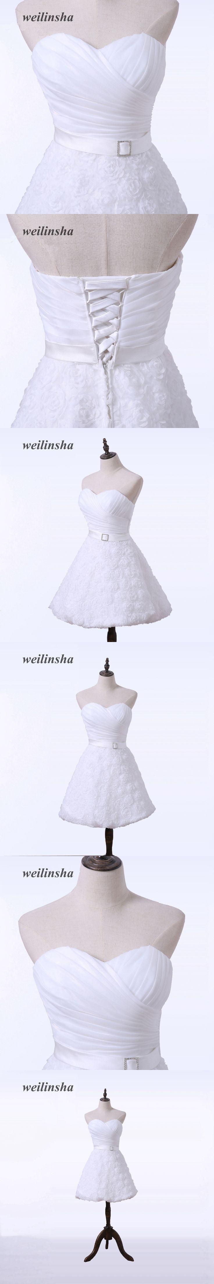 weilinsha A-Line Lace Short Wedding Reception Dresses Cheap Knee Length Mini Wedding Dresses