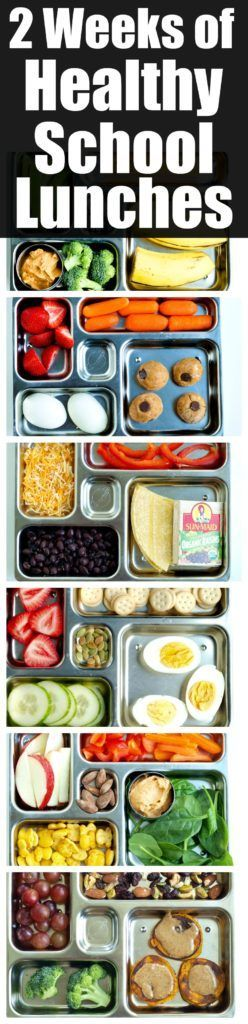 2 Weeks of Healthy School Lunches. These show healthy school lunch ideas for 2 weeks--all the combinations of healthy choices for kids!