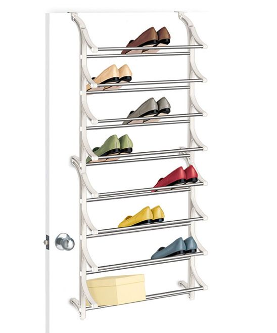 White 24-Pair Over-Door Shoe Rack