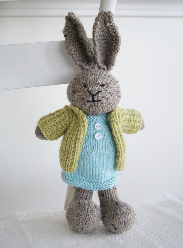 Hand Knitted Toys : Knitted plush bunny quot charlotte hand knit toy rabbit