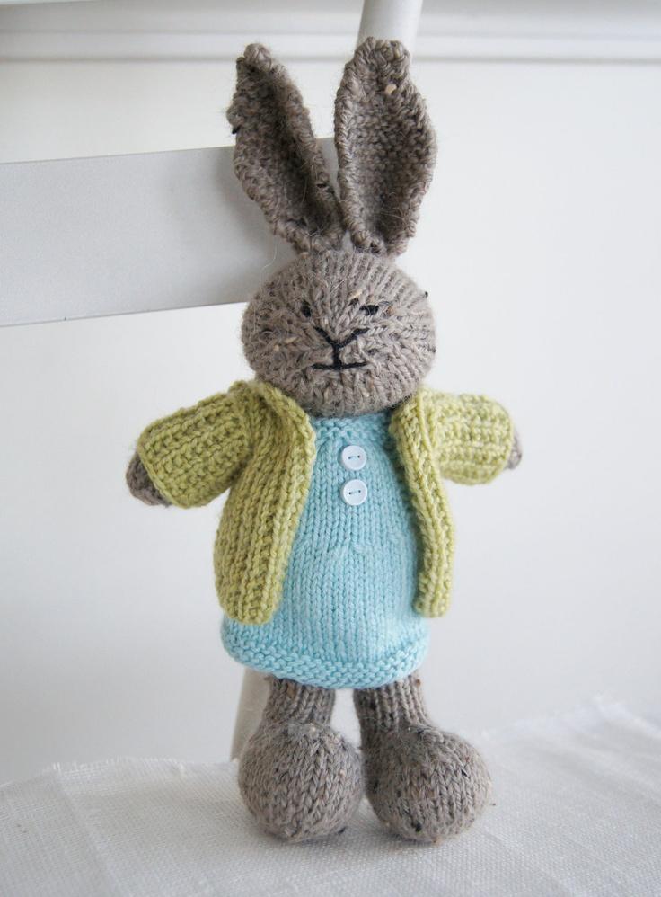 Knitting Stuffed Animals : Knitted plush bunny quot charlotte hand knit toy rabbit