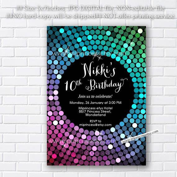 Glitter Invitation, disco invites, disco ball Dance party 10th 16th 18th 20th 30th 40th any age birthday  Birthday Party Invitation card5