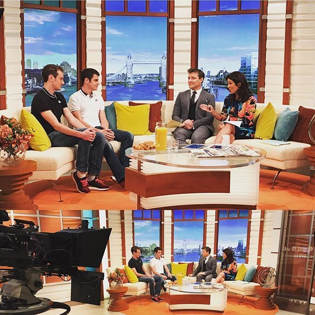 What a treat @jonnybrownleetri @alibrownleetri on @gmb this am- forget the medals and titles but they have a pub named after them! Brownlee Arms it does not get better than that!! @susannareid100 is getting the round in when we get there!! #breakfast #gmb #brownleebrothers #triathlon #brownleefoundation