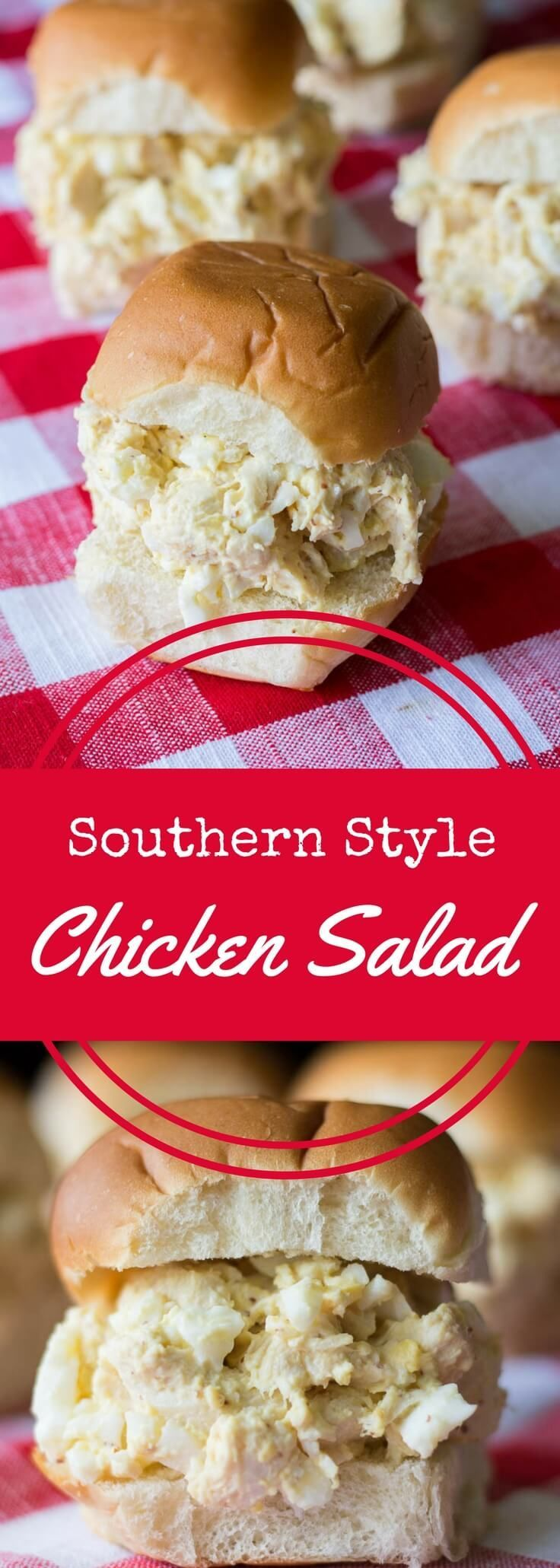 Southern Style Chicken Salad Sandwiches are made with chicken, mayo, coarse ground mustard, and eggs for a rich and satisfying flavor. via @recipeforperfec