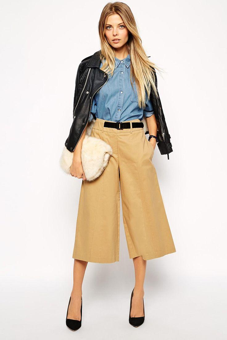 prenda híbrido que fusiona la esencia de los bermudas, el ancho de los pantalones palazzo y el largo de las faldas midi. Se llaman culottes El shopping: Asos: