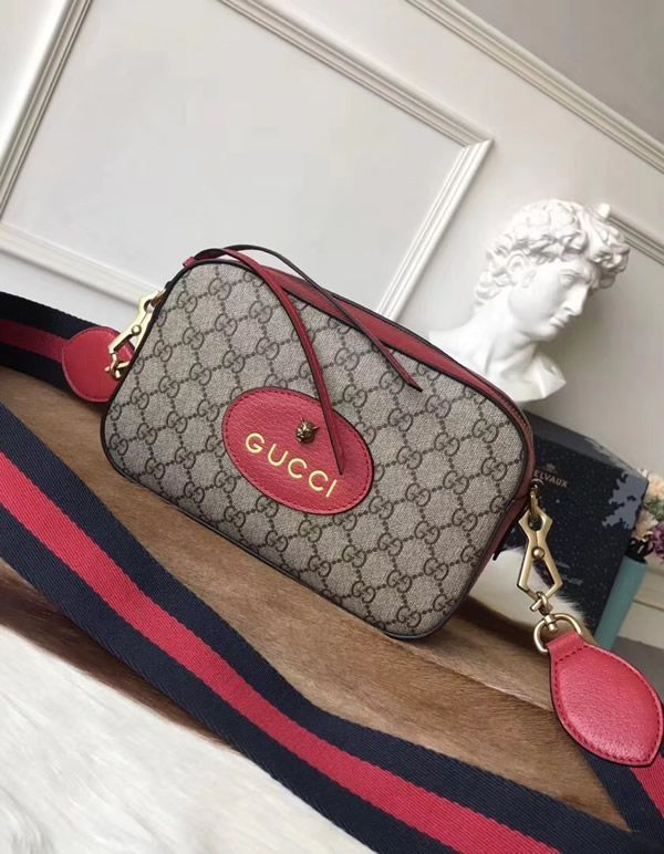 Gucci GG Supreme messenger bag with Red Leather Trim is the top choice of  all of you who are looking for vintage fashion accessories. feda48a696d71