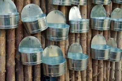 Visualización de escaparate de plantadores de macetas de estaño metal a mano colgado en la pared de madera Foto de archivo