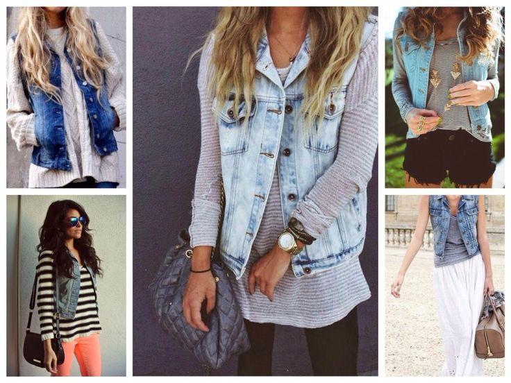 Классический джинсовый жилет в модных луках