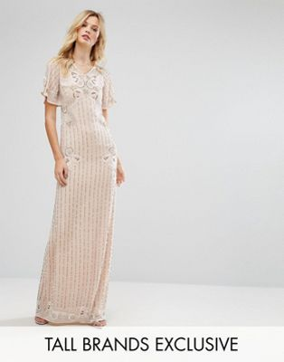 Frock And Frill Tall Premium Embellished Maxi Dress With Fluted Sleeve Detail