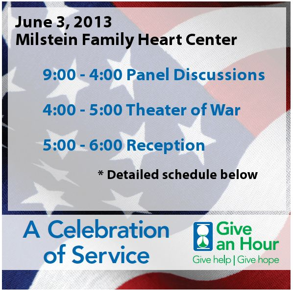 """Recommended by Prof Michelle Ballan: """"Serving Those Who Serve,"""" a FREE conference to be held at Columbia U Medical Center on June 3rd, on providing mental health services to service members, veterans, and their families. She says that """"Give an Hour"""" is an outstanding organization."""