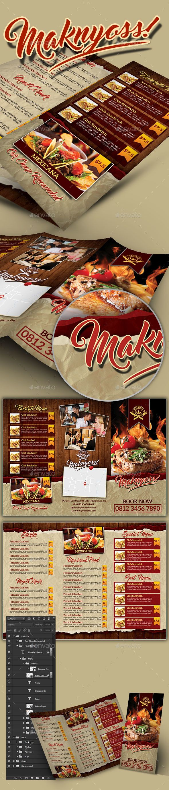 455 best trifold restaurant menu template images on pinterest restaurant menu trifold brochure pronofoot35fo Choice Image