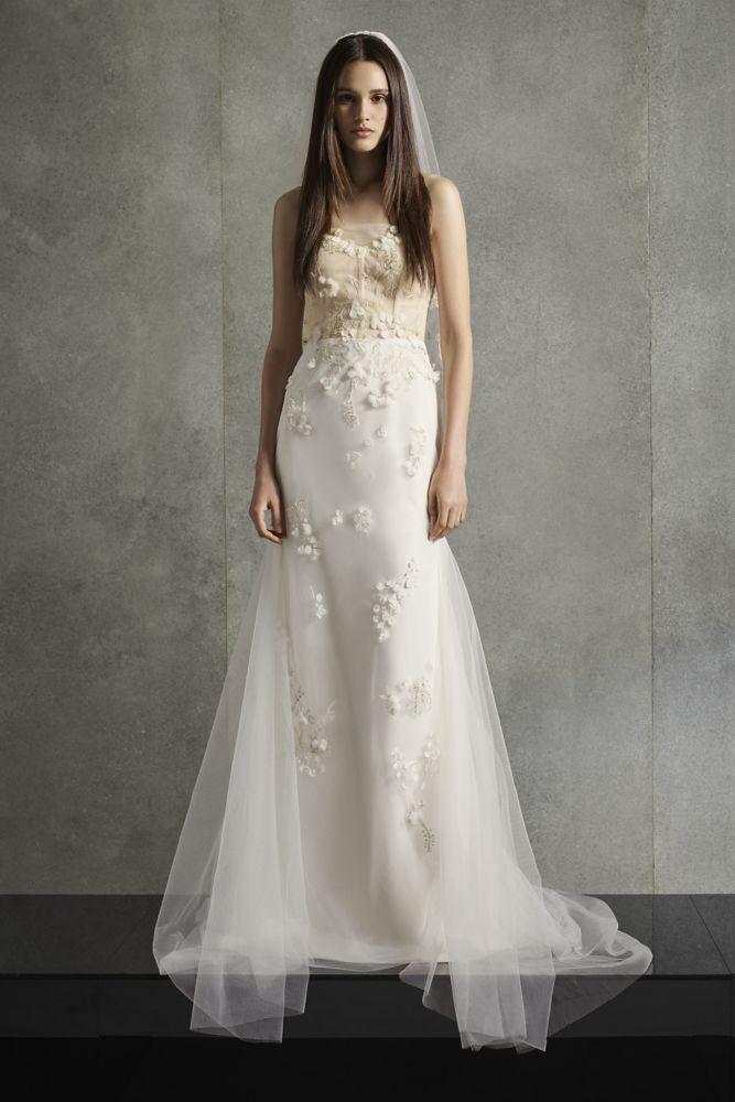 White By Vera Wang Corset Sheath Wedding Dress Style Vw351512