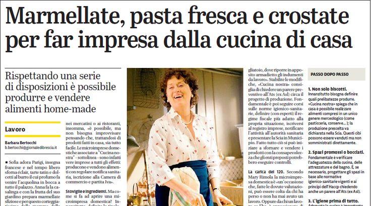 """Dicono di noi...Cucina Nostra e """"iCake"""" sul """"Giornale di Brescia"""". Produrre e vendere alimenti fatti in casa in regola, si può!"""
