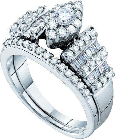14KT White Gold 1.03CTW DIAMOND FASHION BRIDAL SET: Rings