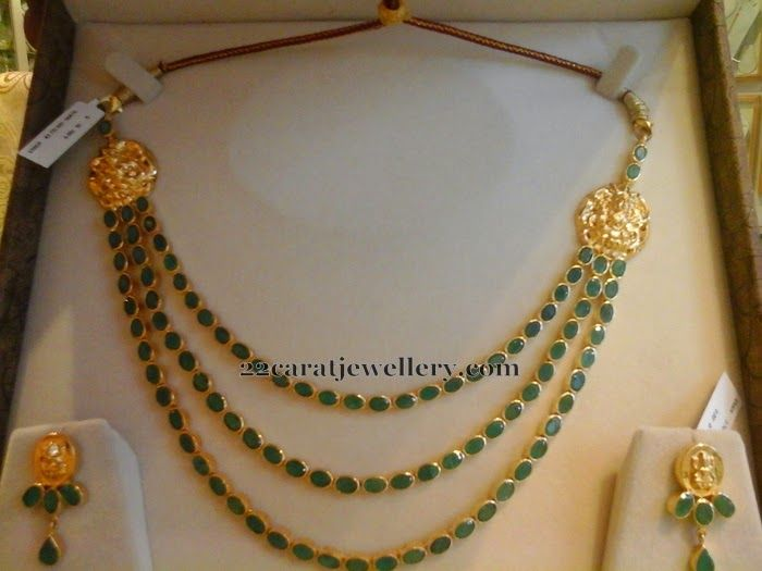 Jewellery Designs: 3 Step Emerald Necklace 55grams