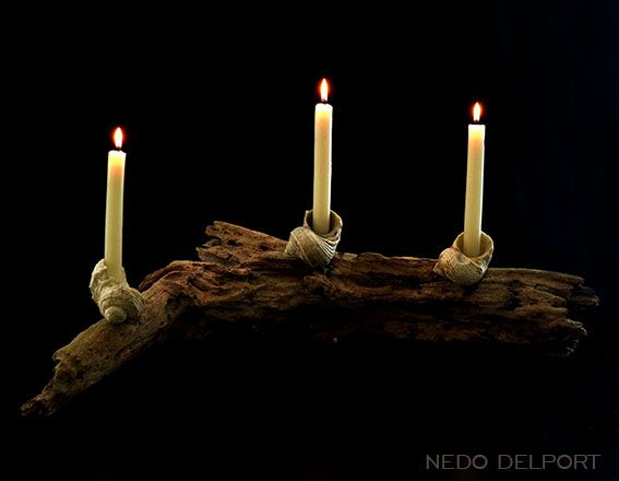 Driftwood candle holder by Nedo Delport.