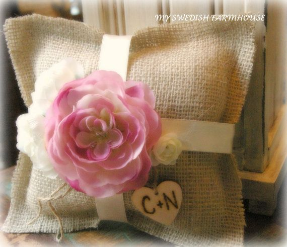 Burlap pillows (make with wine ribbon and no flowers for bed decorative pillows)